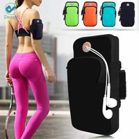 Deago Cell Phone Armband bag Pockets for iPhone 8, 7, 7S, 6, 6S & Samsung Galaxy S9, S8, S7, S6 Phones with Adjustable Elastic Velcro Band & Earbuds hole for Running, Workout, Hiking, Biking, Walking