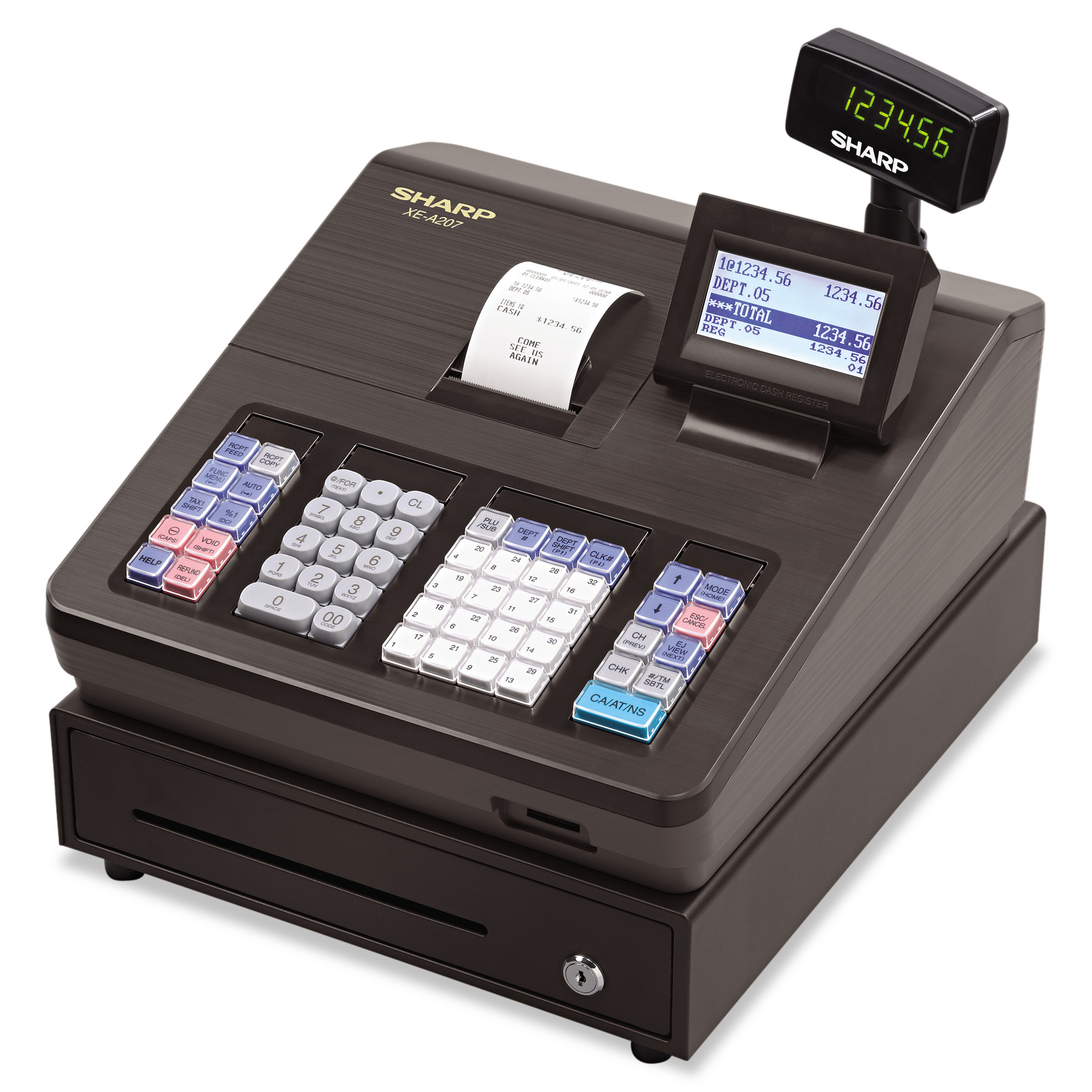 Sharp XE Series Electronic Cash Register, Thermal Printer, 2500 Lookup, 25 Clerks, LCD