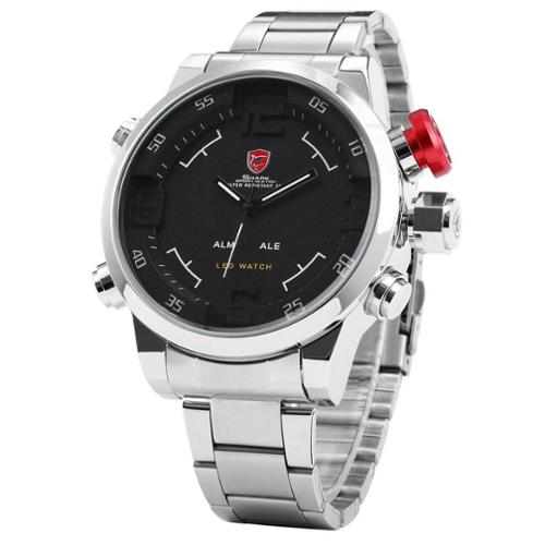 Shark Sport Watch Mens LED Digital Date Day Black Dial Alarm Stainless Steel Sport Quartz Wrist Watch Dual Time Zone (with Gift Box) (Christmas Gift for men)