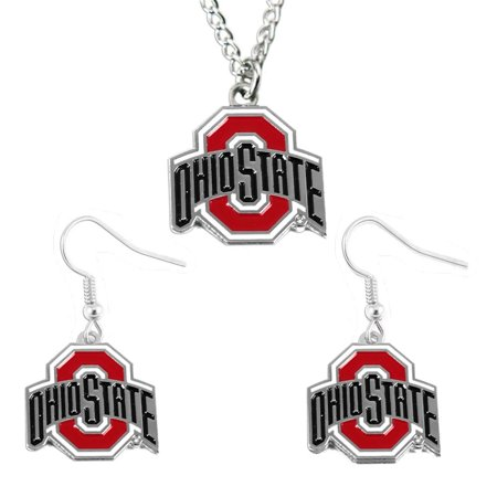 Ohio State Buckeyes Sports Team Logo Earring and Necklace Set Pendant