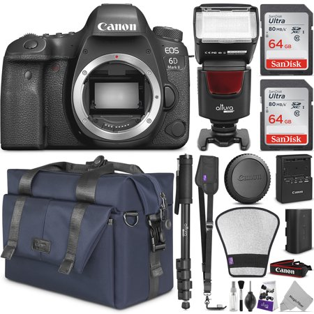 Canon EOS 6D Mark II DSLR Camera Body - WiFi Enabled w/ Complete Photo & Travel Bundle - Includes: Altura Photo Bag, Flash, 2pcs SanDisk 64gb SD Card, Monopod and Neck