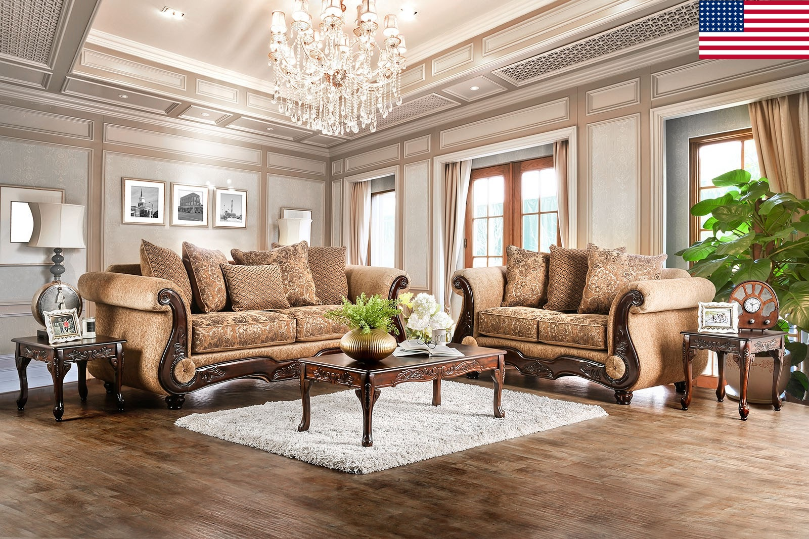 Traditional Living Room Furniture 2pc Sofa Set Gold/Bronze ...