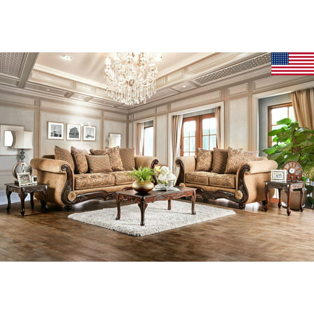 Traditional Living Room Furniture 2pc Sofa Set Gold/Bronze Sofa Loveseat Chenille Fabric And Faux Leather Couch Pillows Rolled Arms USA ()