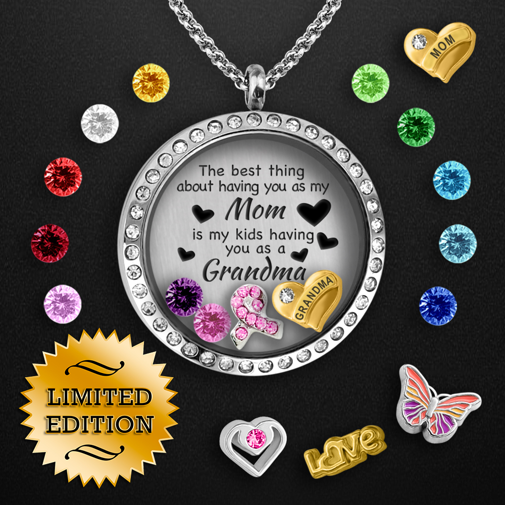 Breast Cancer Floating Locket Pick 3 Charms Locket Crystal Charm Locket