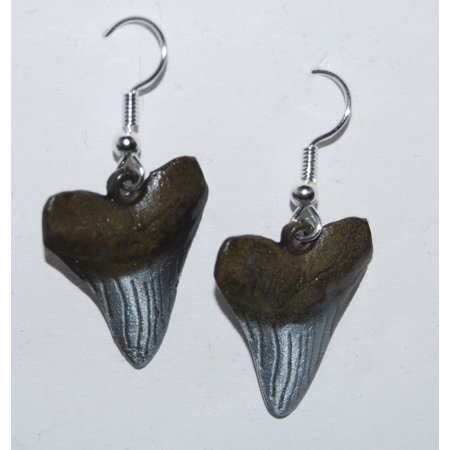 - MEGALODON Shark TOOTH Earrings - METAL REPLICAS - Not Real Teeth
