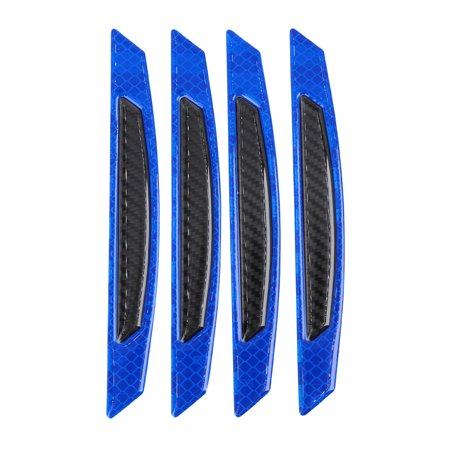 4 Pcs Blue Black 3D Side Door Edge Bumper Reflective Stickers Decals Carbon Fiber Pattern Strips for Car Carbon Fiber Bumper