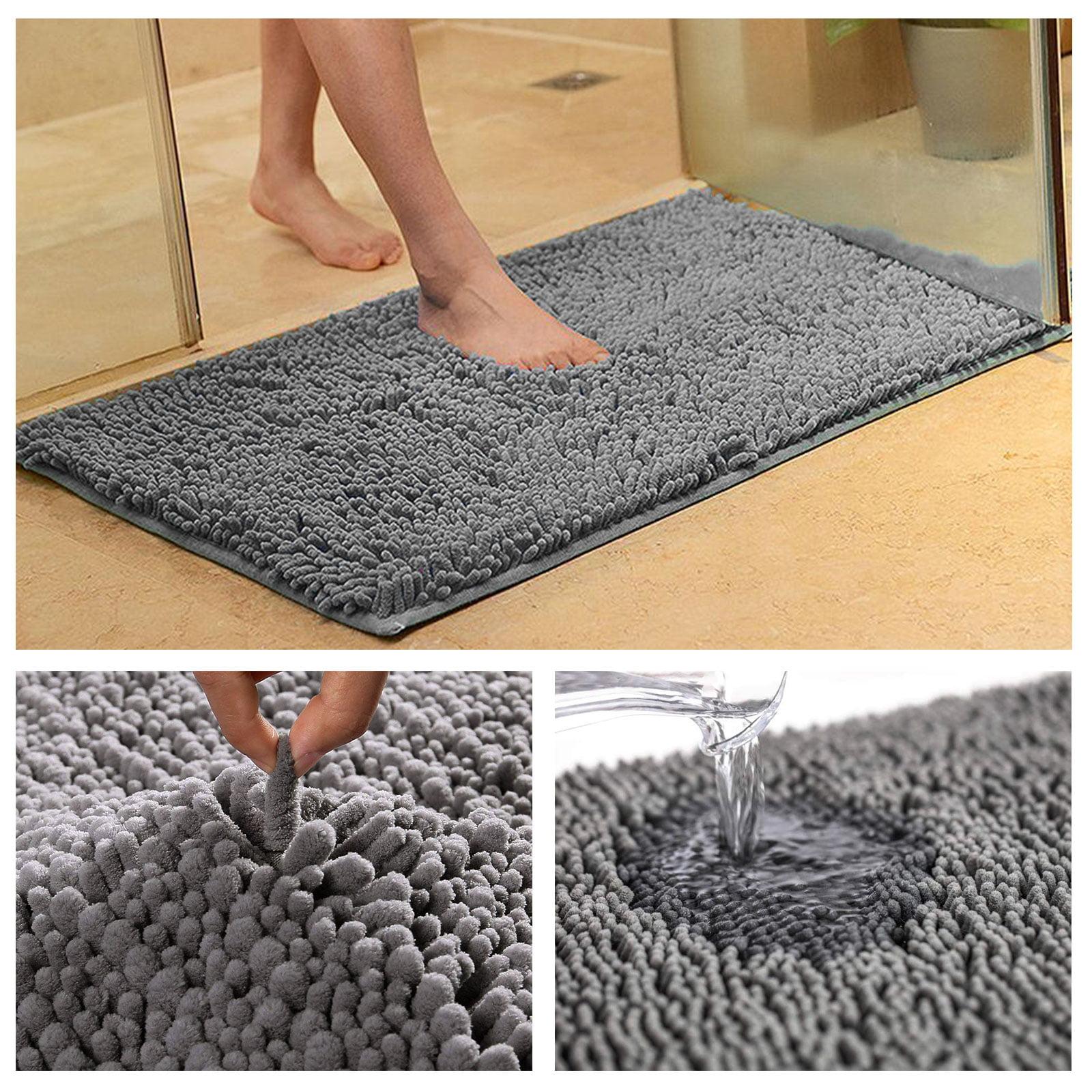 Non-Slip Bathroom Rug Shag Shower Mat Machine-Washable ...