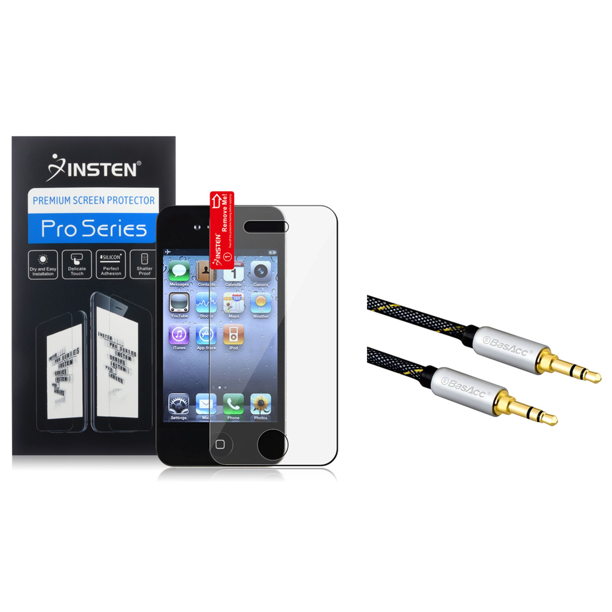 Insten Reusable Screen Protector For Apple iPhone 4 / 4S (+3.5mm Aux Auxiliary Audio Stereo Extension M/M Cable)