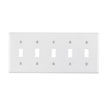 88023-000 Toggle Switch Wallplate  White - 5 Gang
