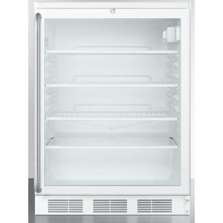 - Summit Appliance SCR600LSH 24 Commercially Approved Compact Beverage Center with 5.5 cu. ft. Capacity 4 Adjustable Wire Shelves Automatic Defrost and Lock in White