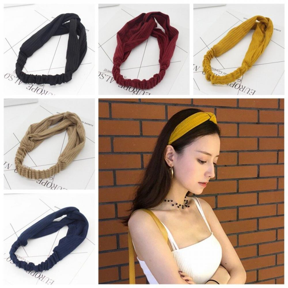 Classic Solid Tan Soft Stretchy Headband Hairband 3 inches wide