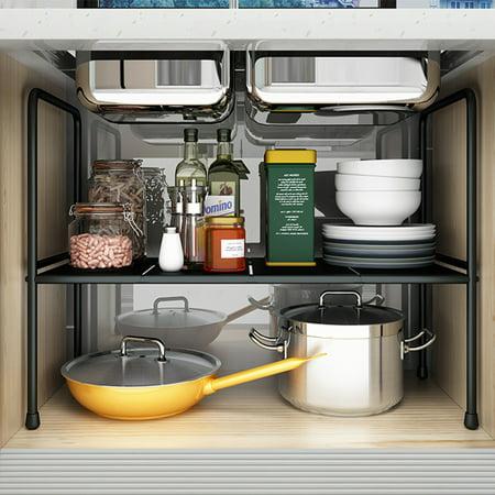 Expandable 2 Tier Cabinet Shelf Kitchen Counter Rack ...