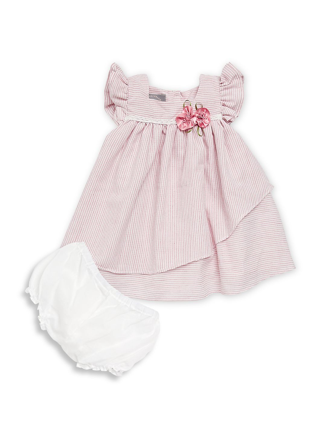 Baby Girl's Two-Piece Striped Dress and Bloomers Set