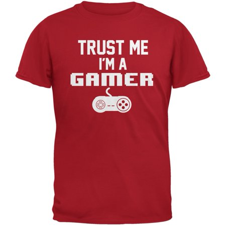 Trust Me Im A Gamer Red Adult T-Shirt (Trust Me Im German)