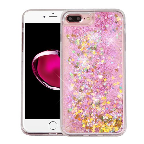 Apple iPhone 7 Plus Case - Wydan Slim Hybrid Liquid Bling Glitter Sparkle Quicksand Waterfall Shockproof TPU Phone Cover I Love You - Gold Hearts