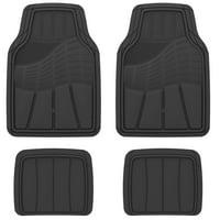 Auto Drive Heavy Duty Universal 4-Piece All Weather Rubber Car Floor Mat, Black