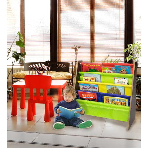 Sorbus Kids Bookshelf Bright Primary Color Pockets Toddler Bookcase