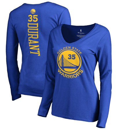 Kevin Durant Golden State Warriors Fanatics Branded Women's Backer Name & Number Long Sleeve V-Neck T-Shirt - Royal (Kevin Durant Party Supplies)