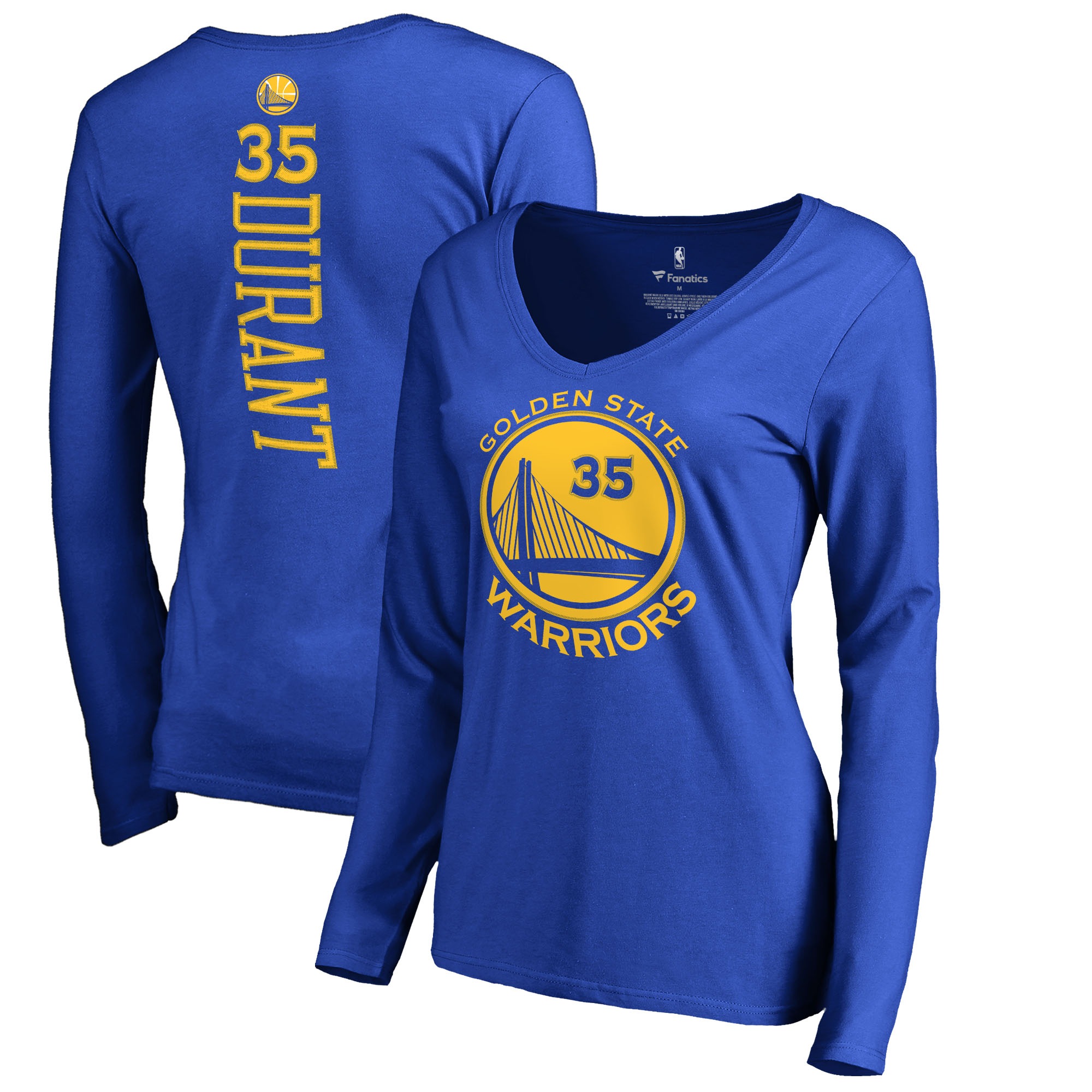 Kevin Durant Golden State Warriors Fanatics Branded Women's Backer Name & Number Long Sleeve V-Neck T-Shirt - Royal