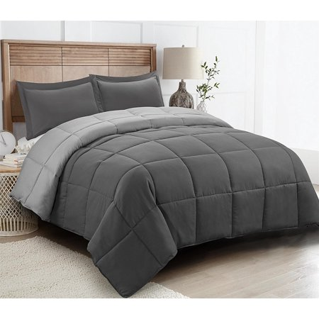 - All Season Down Alternative Comforter Set- 2pc Box Stitched- Reversible Comforter with One Sham-Quilted Duvet Insert with Corner Tabs for Duvet Cover-Hypoallergenic, Supersoft, Wrinkle Resistant -Twin