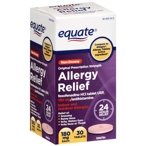 Equate Indoor And Outdoor Allergies Fexofenadine HCL Antihistamine 180mg, 30ct