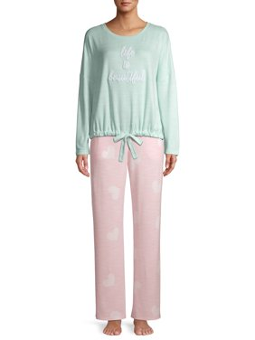 Secret Treasures Women's and Women's Plus Size Tie-Front Pajamas, 2-Piece Set