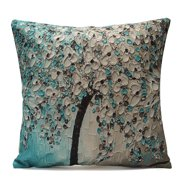 Non-3D Printed Flower Tree Cotton Linen Decorative Throw Pillow Case Cushion Cover  17''x17''Pillowcase Pillow Protector Slip Cases Sham for Car Couch Sofa Home