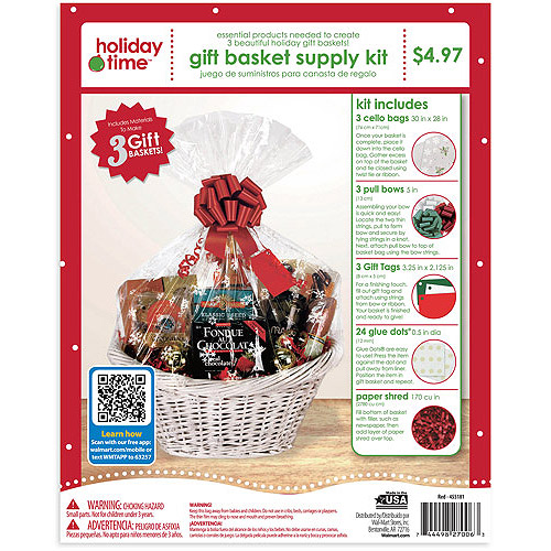 Holiday Time 3pk Basket Wrap Kit - Red