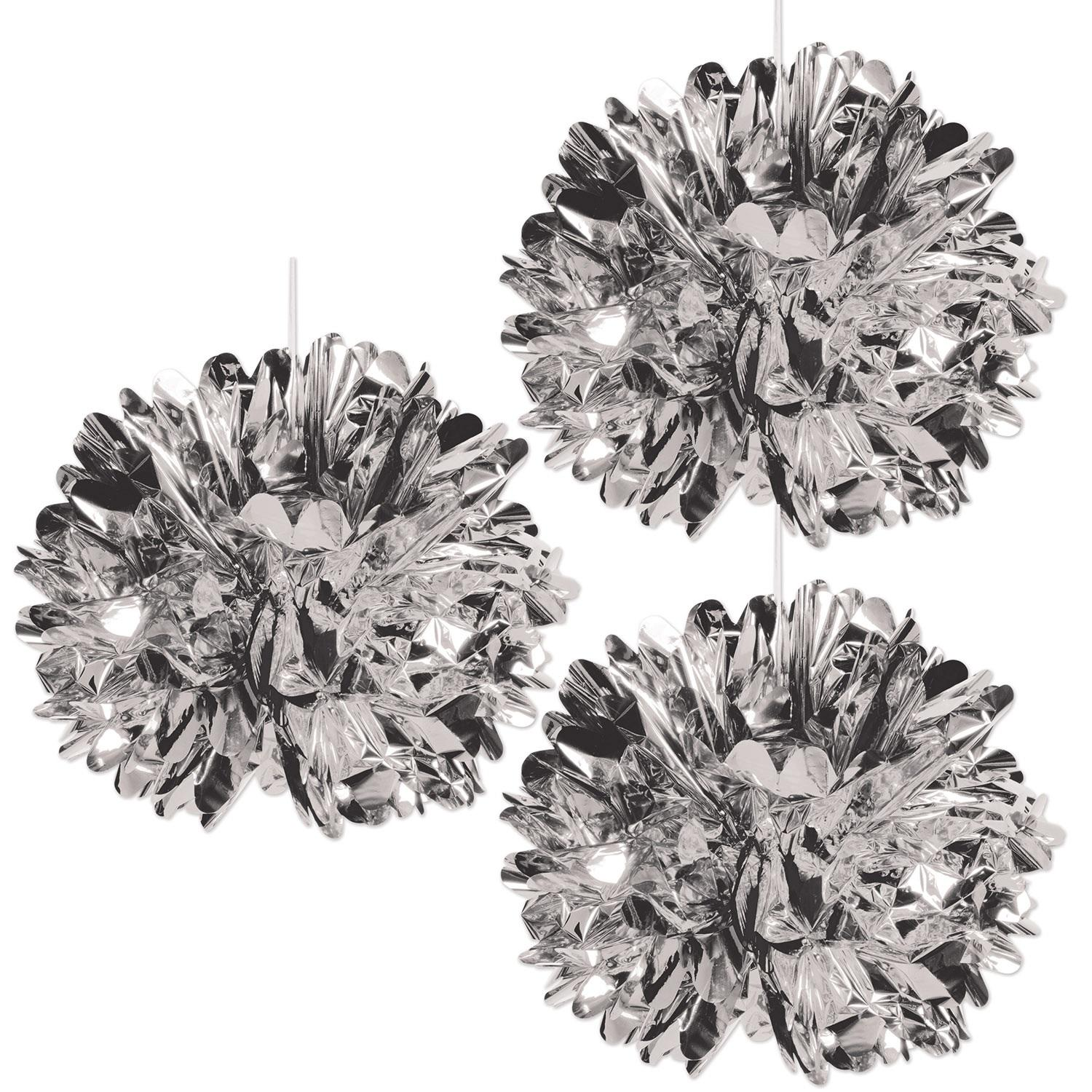 Club Pack of 12 Shiny Metallic Silver Fluff Ball Hanging Party Decorations 16""