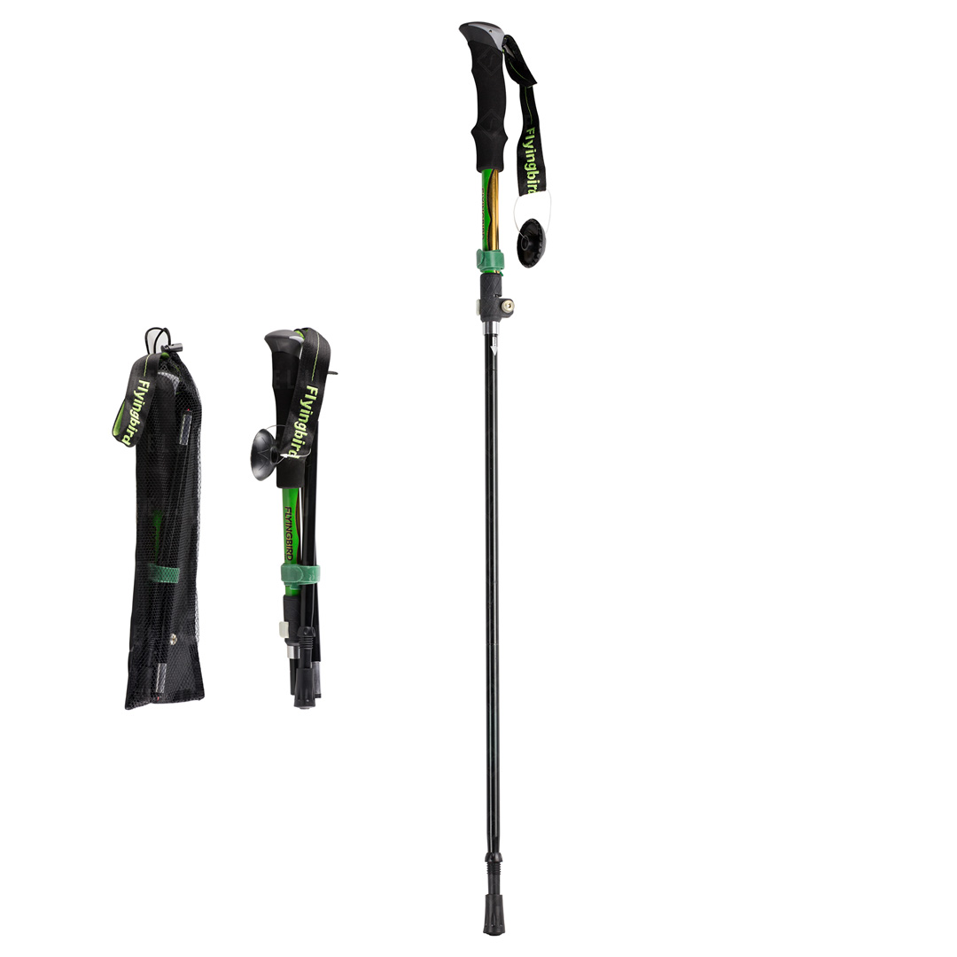 Felji Folding Trekking Pole Collapsible Alpenstocks Ultralight Adjustable Hiking Stick by