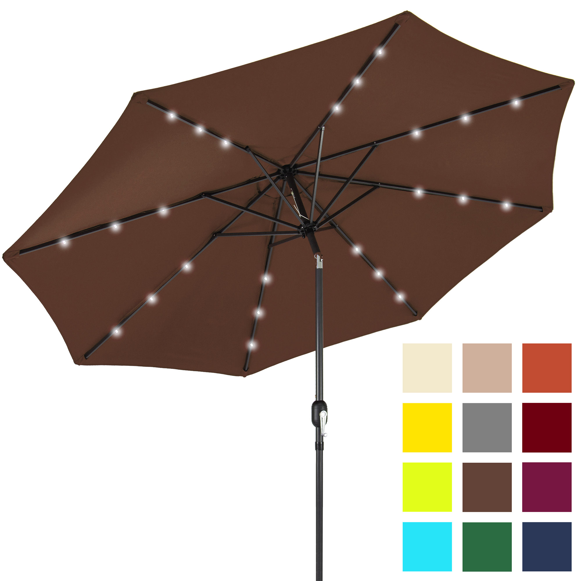 Best Choice Products 10ft Solar LED Lighted Patio Umbrella w/ Tilt Adjustment - Brown