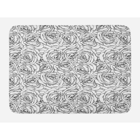 Black And White Bath Mat Nature Symbols In Sketch Art Style Monochromatic Rose Bouquet