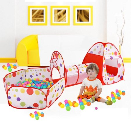 Ymiko Kids Play Tent With Tunnel Ball Pit Tent Pop Up Tent Playhouse For Boys Girls Baby Toddlers Pets Outdoor Indoor Use, Best