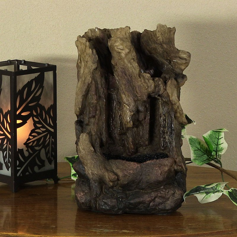 Sunnydaze Hollowed Log Tabletop Water Fountain with LED Lights, 11.5 Inch by Sunnydaze Decor