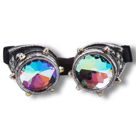 Party City Goggles (C.F.GOGGLE Vintage Steampunk Goggles Rainbow Kaleidoscope Festival Diffraction  Goggles Cosplay Party Black)