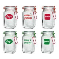 Deals on 6-Pack Mainstays Holiday Glass Clamp Jars