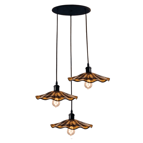 "Dale Tiffany SAH15105 Burnt Sienna 3 Light 23"" Wide LED Multi Light Pendant with Hand Blown Glass Shade"