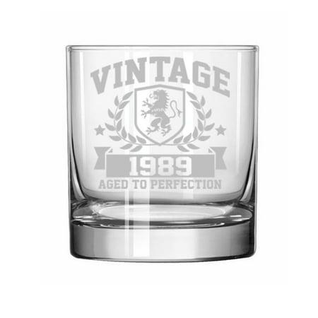 11 oz Rocks Whiskey Highball Glass 30th Birthday Vintage Aged To Perfection 1989