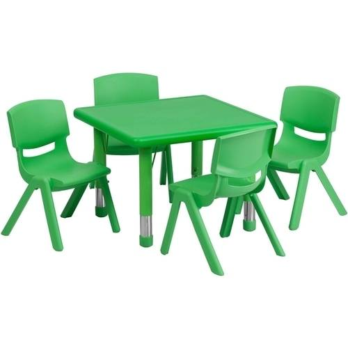 Flash Furniture 24'' Square Adjustable Plastic Activity Table Set in Multiple Colors with 4 School Stack Chairs