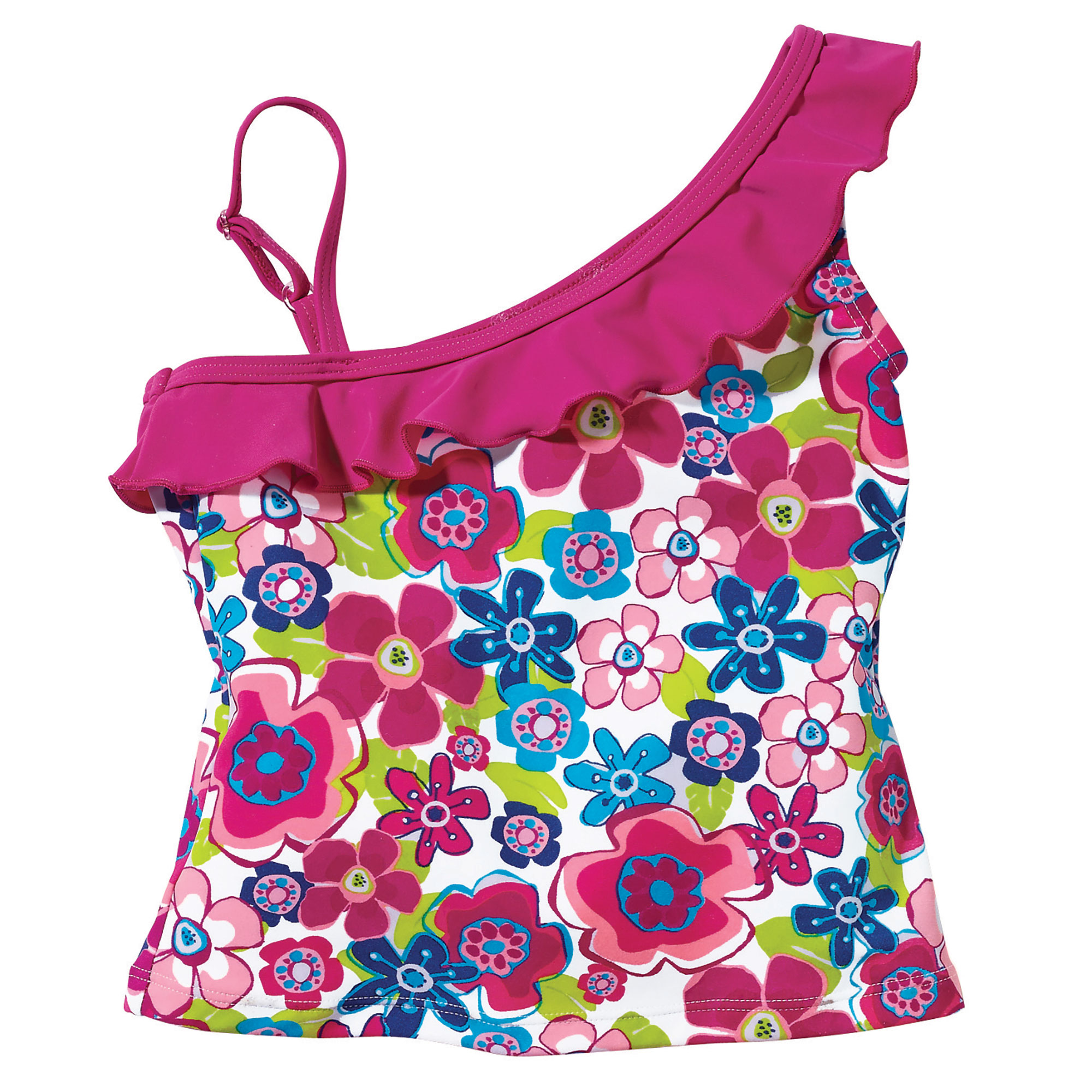 Sun Smarties Baby and Toddler Girl Tankini - Red and Pink Floral Design - Sleeveless Swim Top