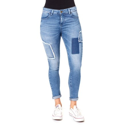 Juniors' Patch Work Rolled Cuff Ankle Skinny Jeans