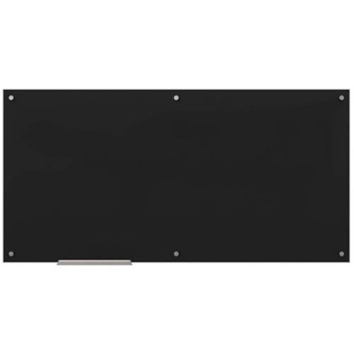 U Brands Glass Dry Erase Board, 35 x 23 Inches, Black Surface, Frameless by U Brands