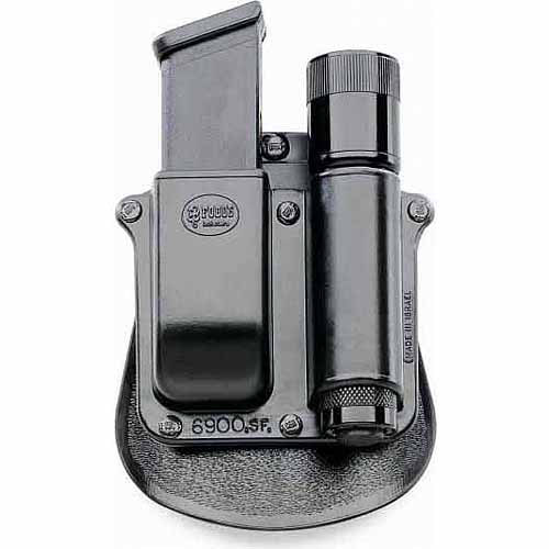 """Fobus Flashlight Magazine Pouch Holds 1"""" Flashlight and Glock, H&K 9, 40 Mags by Fobus"""