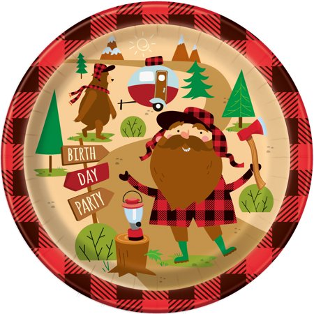 Unique Industries Buffalo Plaid Lumberjack Birthday Paper Dinner Plates, 9 in, 8ct Birthday Boy Dinner Plate