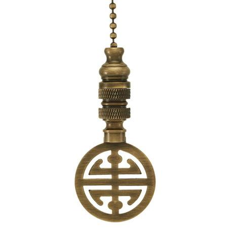 "Classic Asian Design Antique Brass Fan Pull 2.25""h Antiqued Base Chain"
