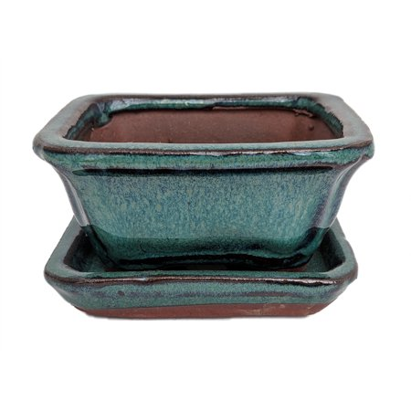 Small Ceramic Bonsai Pot plus Saucer - Deep Moss Green - 4