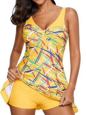 Summer Women 2 Pieces Bathing Suit Print Swimsuit Set