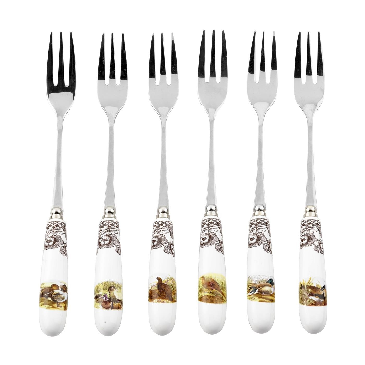 Spode Woodland S/6 Pastry Forks (Assorted Motifs)