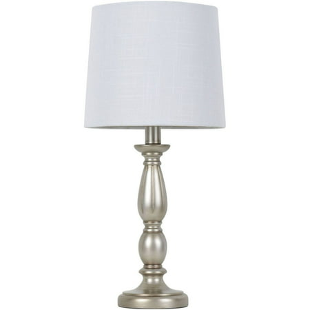 Mainstays Antique Silver Turned Resin Table Lamp Silver Leaf Table Lamp