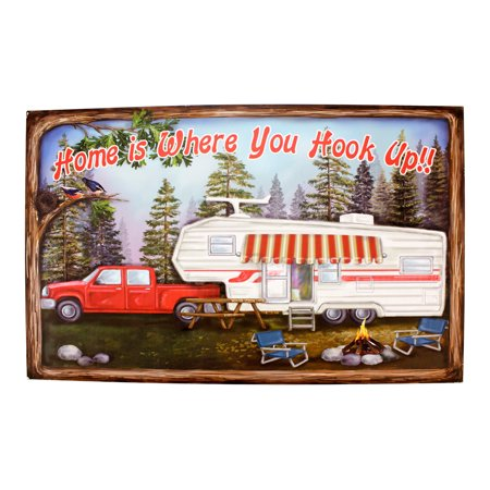 Hook Sign (Home is Where You Hook Up Printed Wood Sign 19 Inch RV Camper Wall Plaque Decor)